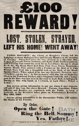 A £100 reward! James Doughty, Bath 1865