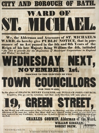 Election of two town councillors in the Ward of St. Michael, Bath 1848