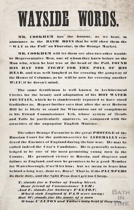 Wayside Words, Bath election 1859