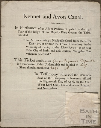 Kennet and Avon Canal share certificate 1791