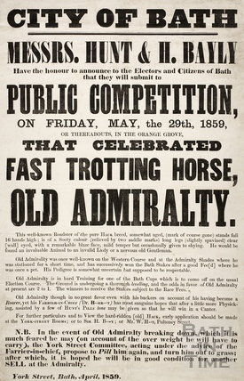 Public competition, that celebrated fast trotting horse, Old Admiralty, Bath 1859