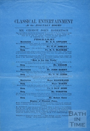 Classical entertainment at the Assembly Rooms, Bath 1873