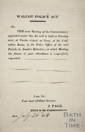 Walcot Police Act, Bath 1824