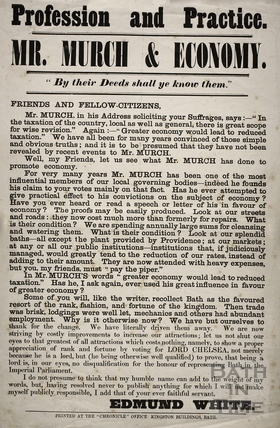 Profession and Practice. Mr. Murch and Economy, Bath 1873/74
