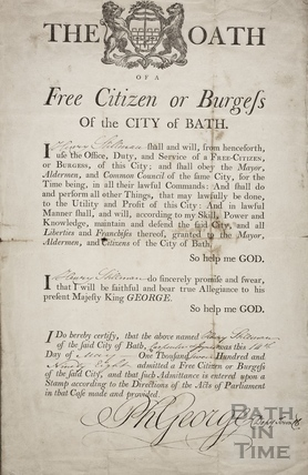 The Oath of a Free Citizen, or Burgess, of the City of Bath 1798