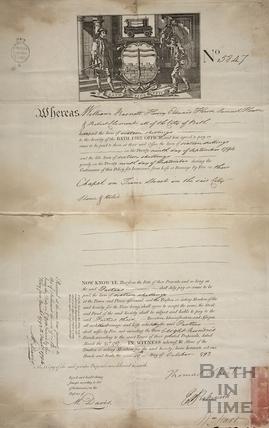 Bath Fire Office certificate - Chapel in Trim Street 1793