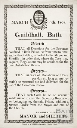 Donations to Bath Prison, Guildhall Bath 1808