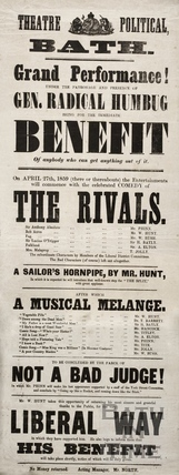 Grand performance of the Rivals. Under the patronage and presence of Gen. Radical Humbug, Theatre Political, Bath 1859