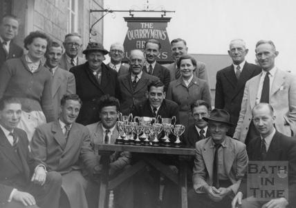 The Quarryman's Arms darts team, Box c.1950