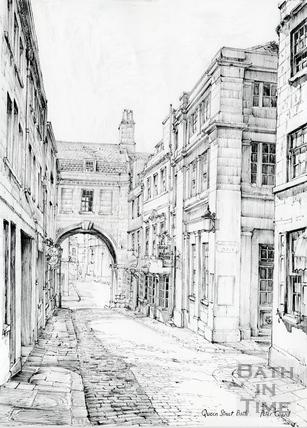 Queen Street, Harington Place and Trim Bridge, Bath c.1978