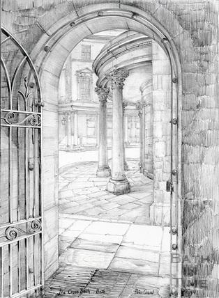 The Cross Bath viewed through the gateway to St. John's Hospital, Bath c.1978