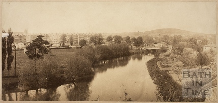 View of Grosvenor Place, the River Avon and Grosvenor Suspension Bridge, Bath c.1880