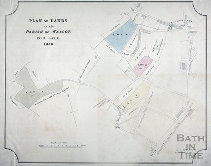 Plan of Lands in the Parish of Walcot for Sale, Bath 1850