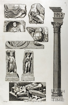 Roman discoveries with column to right, Bath 1794