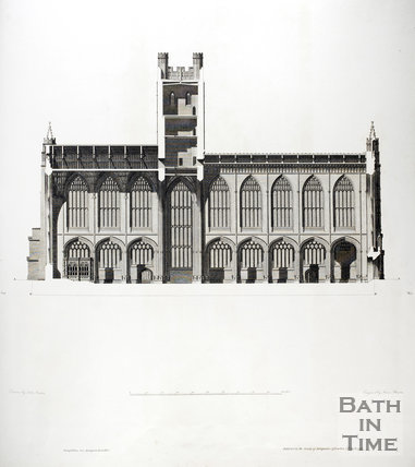Section from East to West of Bath Abbey from the North 1798