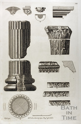 Section and elevation of Roman columns discovered at Bath 1794