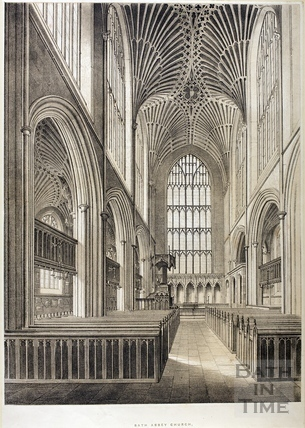 Interior view of Bath Abbey Church 1845