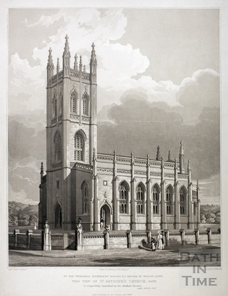 View of St. Saviour's Church, Larkhall, Bath 1834