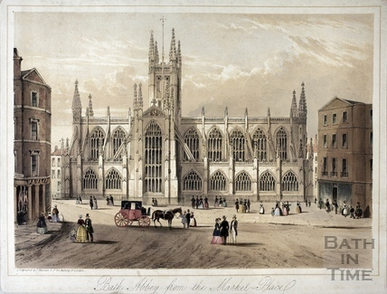Bath Abbey from the Market Place, Bath c.1850