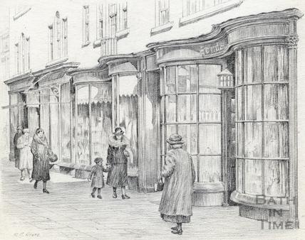 Georgian shop fronts in Old Bond Street, Bath 1939