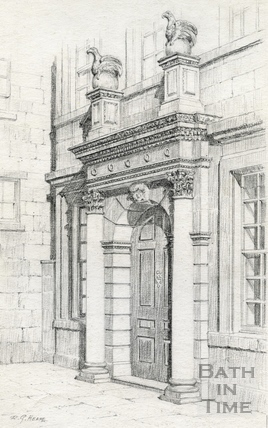 Entrance to the house where Beau Nash died in Sawclose, Bath 1939