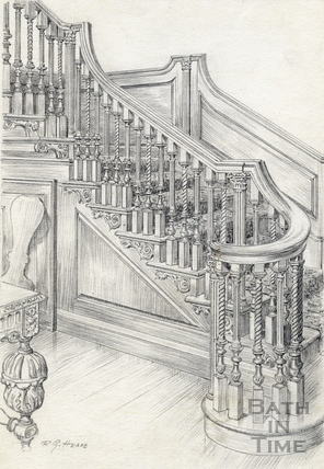 Staircase, 15, Queen Square, Bath 1939