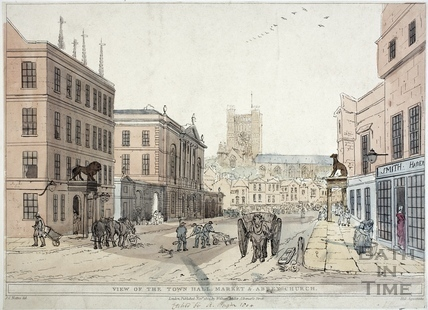 The Lion, Town Hall, High Street, Market & Abbey Church 1804