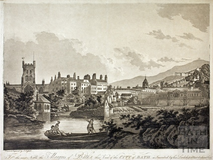 To the most Noble the Marquis of Bath, this view of the City of Bath in Inscribed by his Lordships most obedient servant 1795