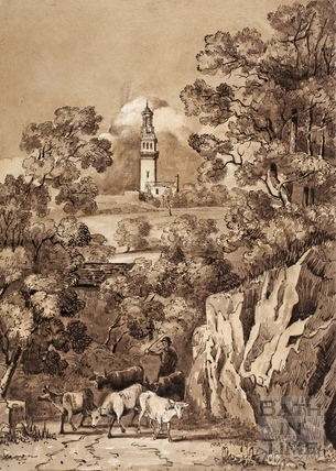 View of Beckford's Tower, Lansdown, Bath c.1858