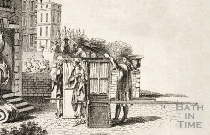 Chairmen with a sedan chair, Bath c.1740 - detail