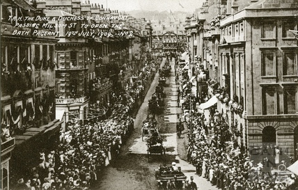 The Bath Historical Pageant. T. R. H. The Duke & Duchess of Connaught passing Milsom Street to open the Bath Pageant 1909