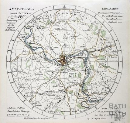 A Map of Five Miles Around the City of Bath c.1840