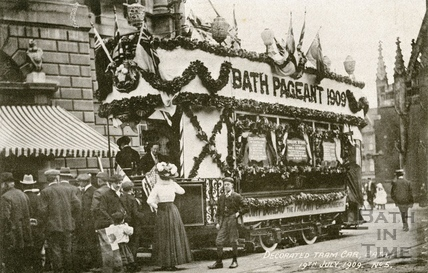 The Bath Historical Pageant.. Decorated tram car 19th July 1909