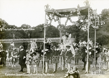 The Bath Historical Pageant. Episode V. Queen Elizabeth watching the revels 1909