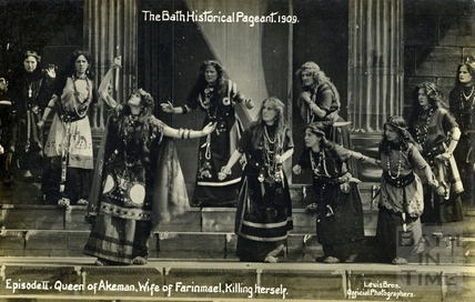 The Bath Historical Pageant. Episode II. Queen of Akeman, Wife of Farinmael, killing herself 1909