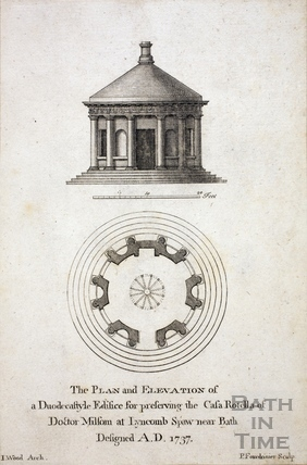 The Plan and Elevation of a Duodescastyle Edifice for preserving the Casa Rotella of Doctor Milsom at Lyncombe Spa, Bath 1737
