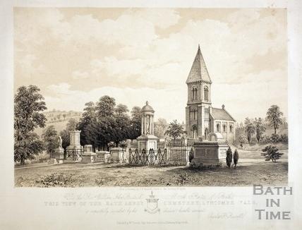 View of the Bath Abbey Cemetery, Lyncombe Vale, Bath 1850