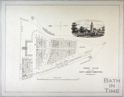 Index Plan of the Bath Abbey Cemetery, Lyncombe Vale, Bath c.1850