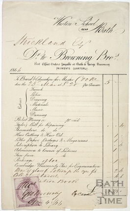 Receipt to Strickland Esq. Bill from George Browning, Weston School 1866
