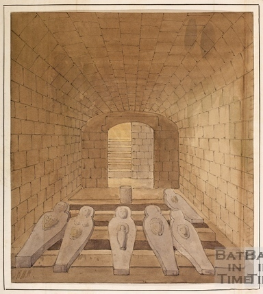 The crypt at Farleigh Castle, Farleigh Hungerford 1846