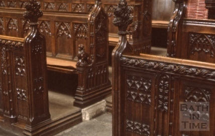 Choir stalls, Bath Abbey, Bath 1963