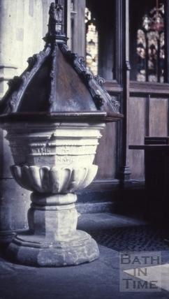 Old font, Bath Abbey, Bath 1963