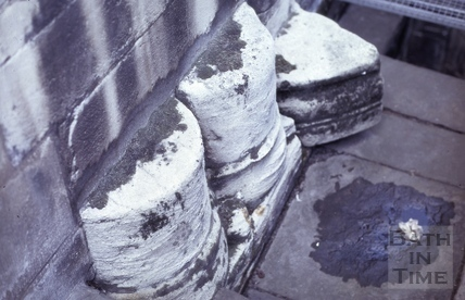 Bases of Nroman columns, Bath Abbey, Bath 1974