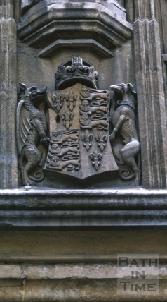 Royal coat of arms, Bath Abbey, Bath 1966