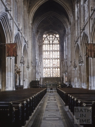 Nave looking east, Bath Abbey, Bath 1963