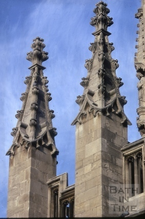 Pinnacles on south west towers, Bath Abbey, Bath 1974