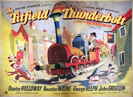 Poster advertising The Titfield Thunderbolt film 1952