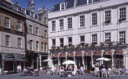 North west corner, Abbey Church Yard, Bath 1983