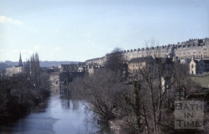 River Avon from Cleveland Bridge, Bath 1979