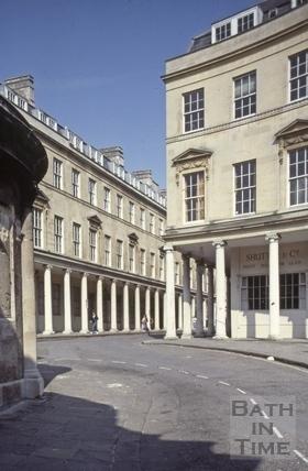 Bath Street from Hot Bath Street, Bath 1981
